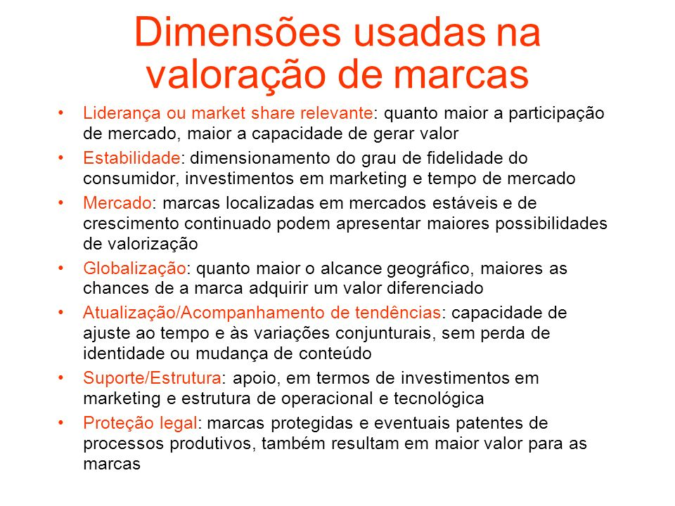 Dimensões usadas na valoração de marcas