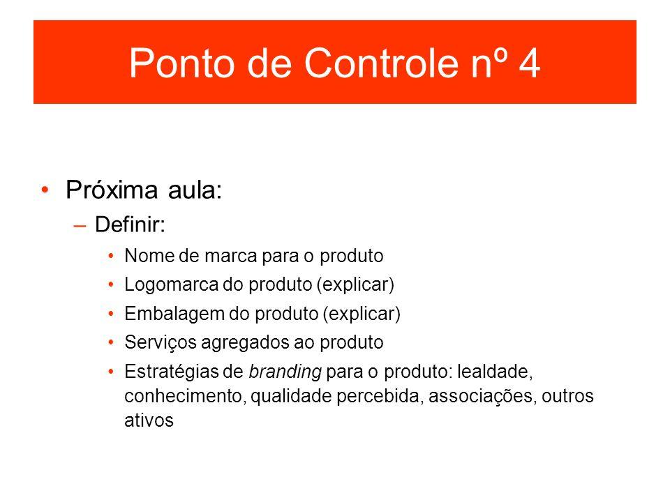 Ponto de Controle nº 4 Próxima aula: Definir: