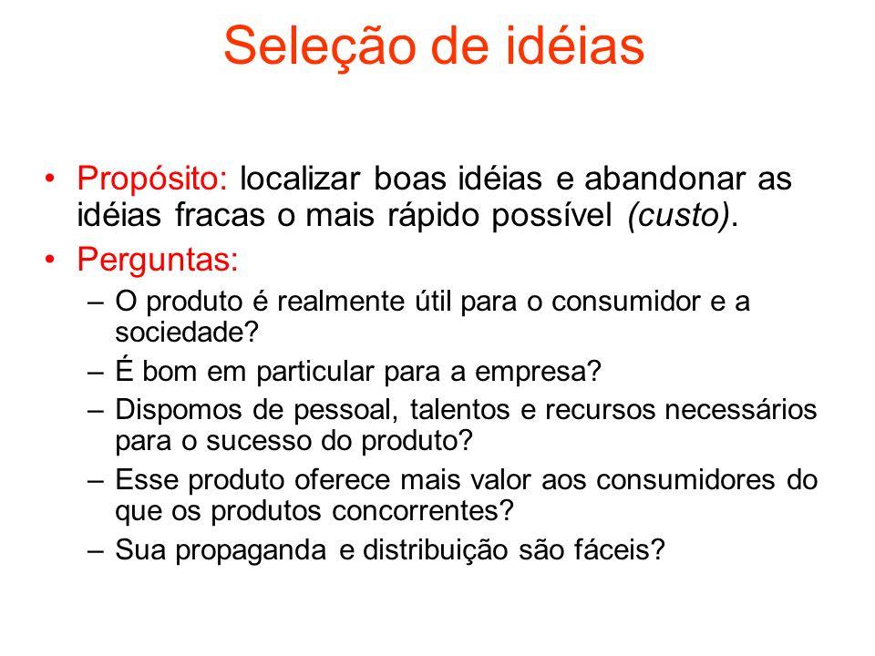 Seleção de idéias Propósito: localizar boas idéias e abandonar as idéias fracas o mais rápido possível (custo).