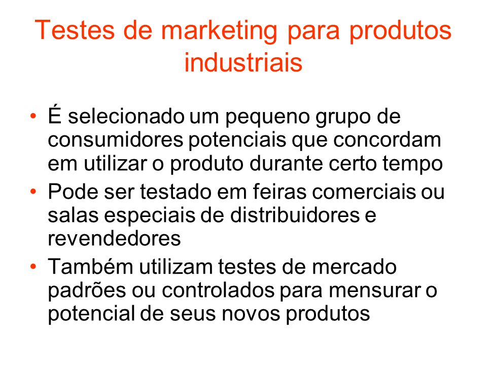 Testes de marketing para produtos industriais