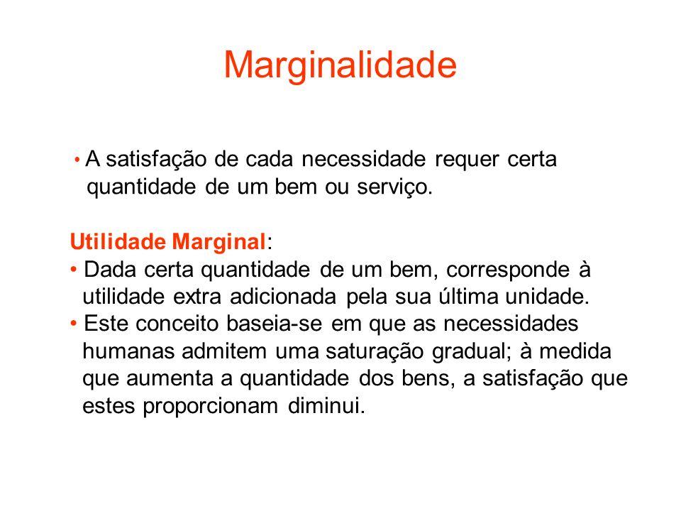 Marginalidade quantidade de um bem ou serviço. Utilidade Marginal: