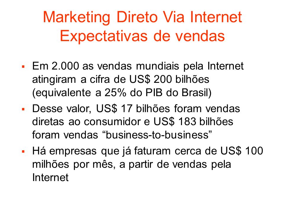 Marketing Direto Via Internet Expectativas de vendas