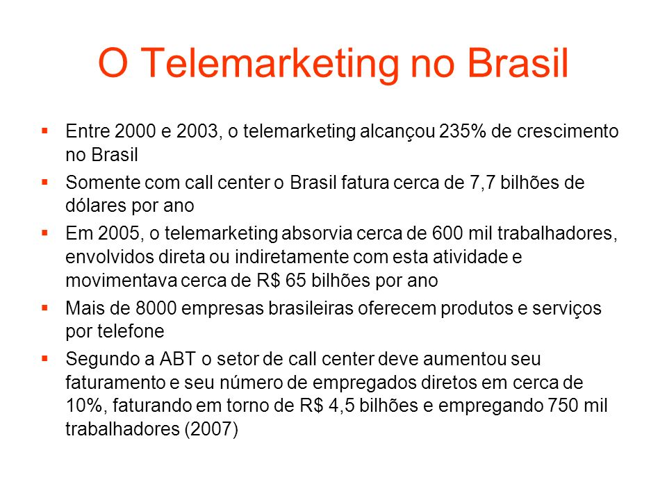 O Telemarketing no Brasil