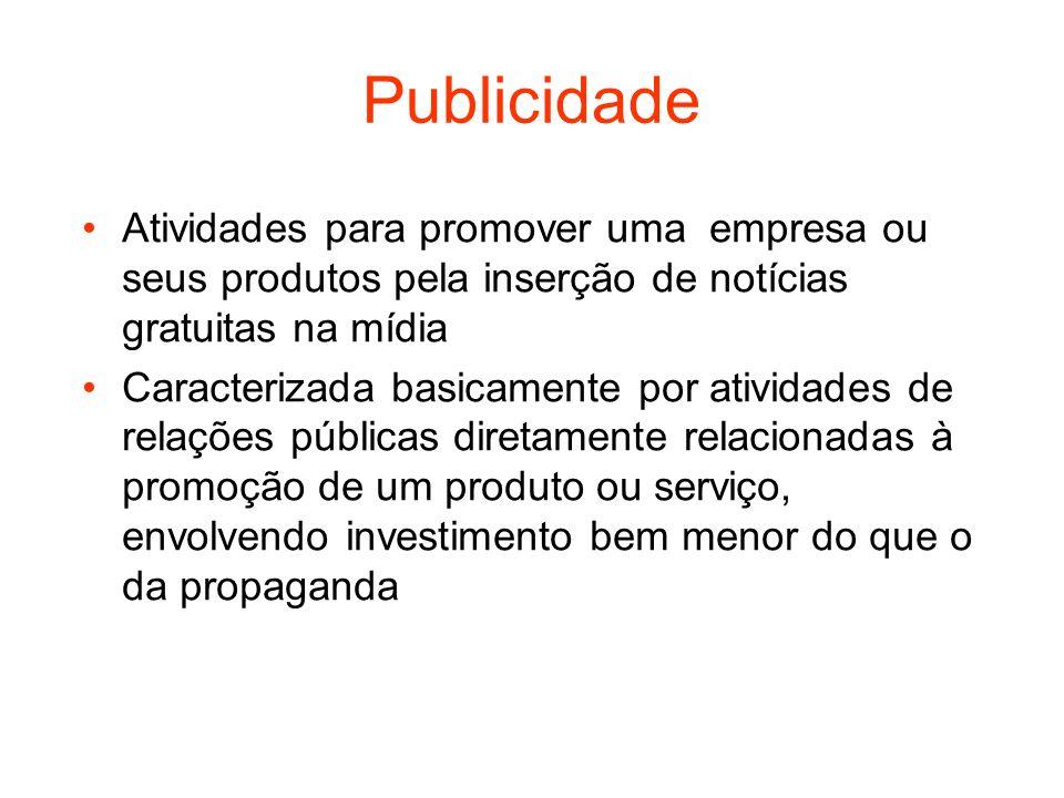 Publicidade Atividades para promover uma empresa ou seus produtos pela inserção de notícias gratuitas na mídia.