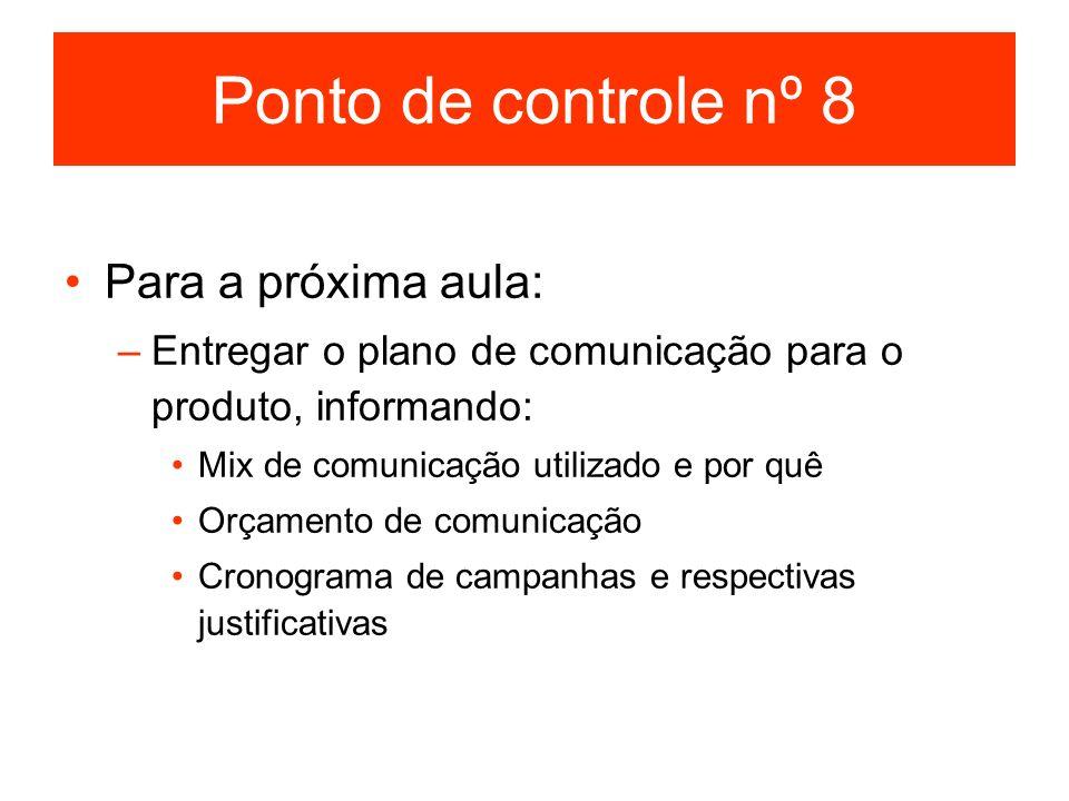 Ponto de controle nº 8 Para a próxima aula: