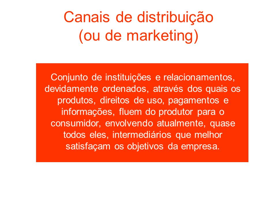 Canais de distribuição (ou de marketing)