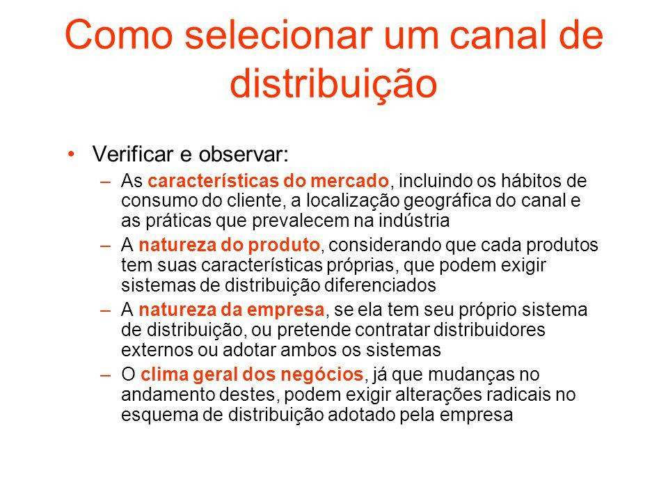 Como selecionar um canal de distribuição