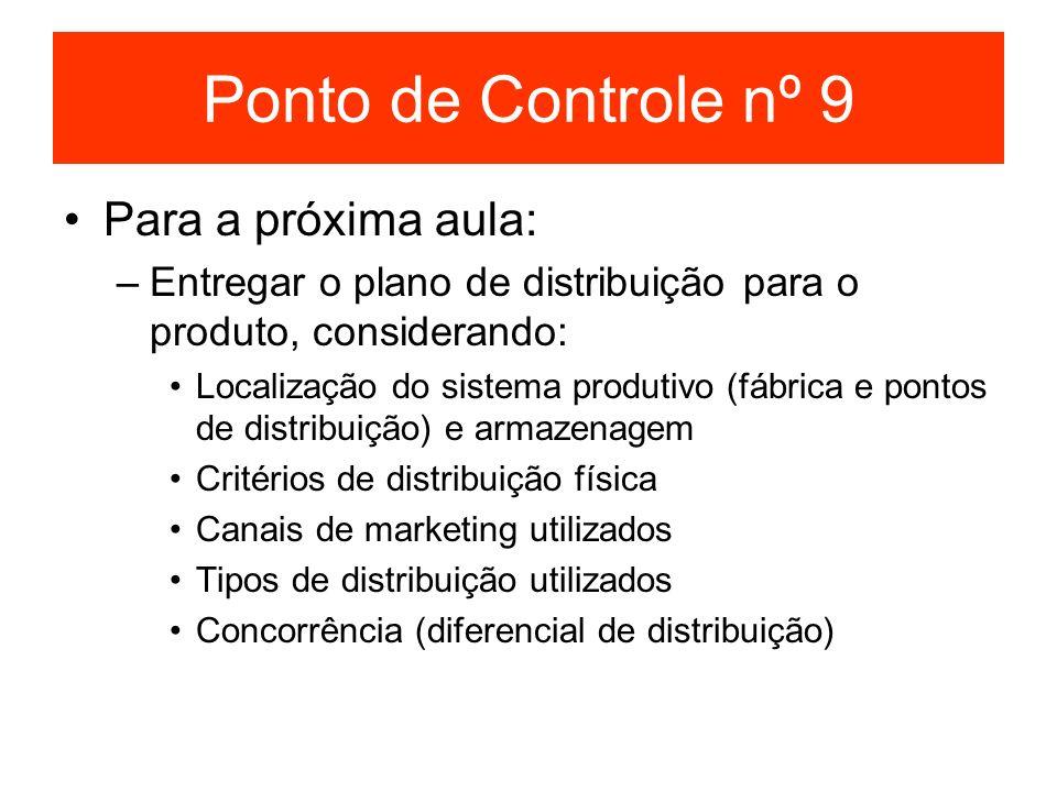 Ponto de Controle nº 9 Para a próxima aula: