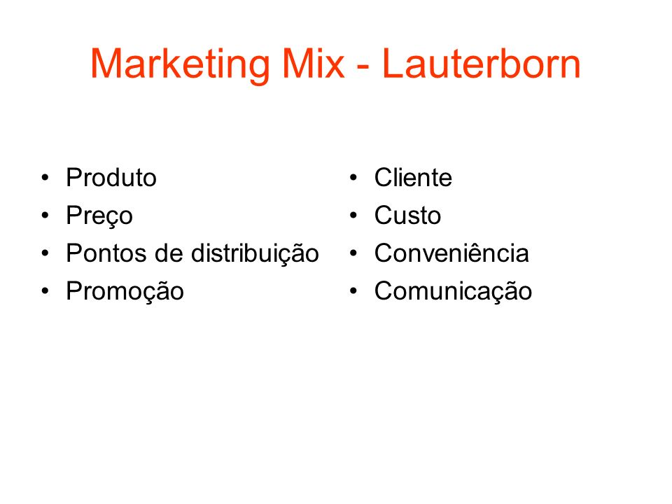 Marketing Mix - Lauterborn