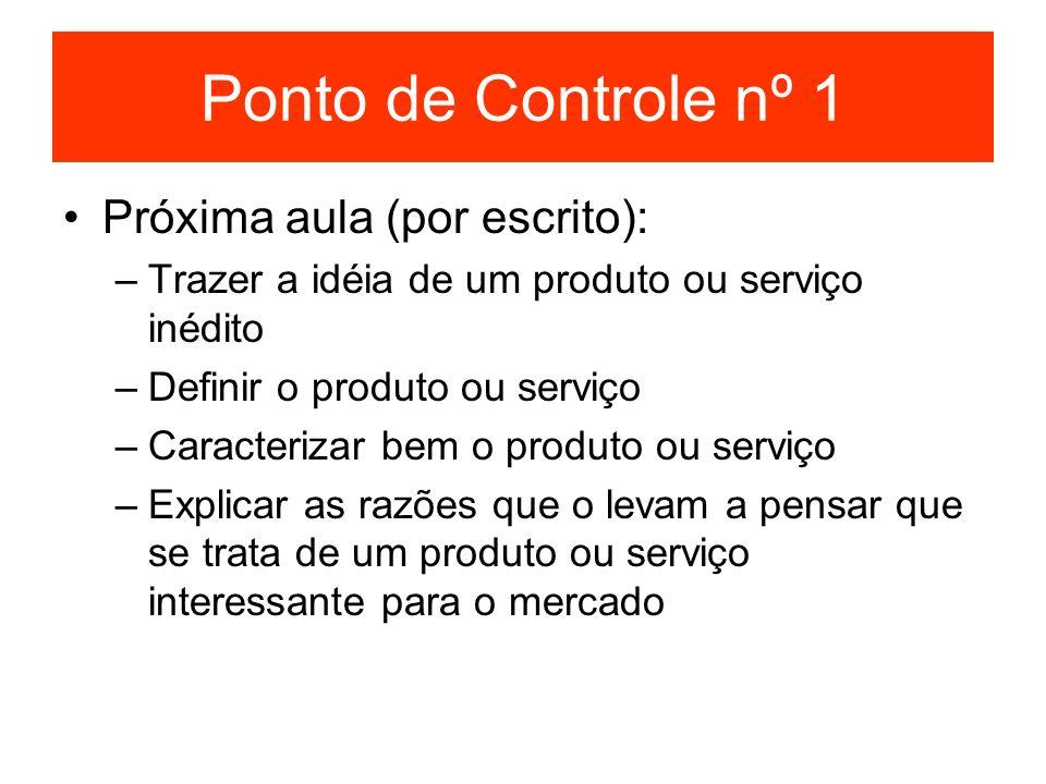 Ponto de Controle nº 1 Próxima aula (por escrito):