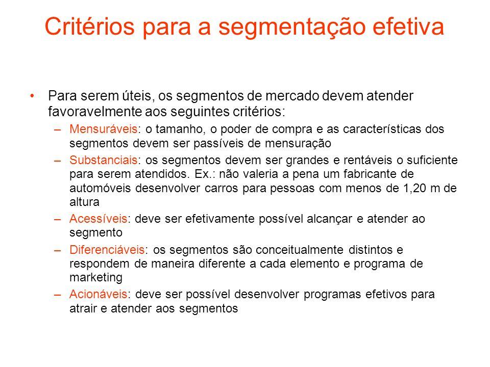 Critérios para a segmentação efetiva