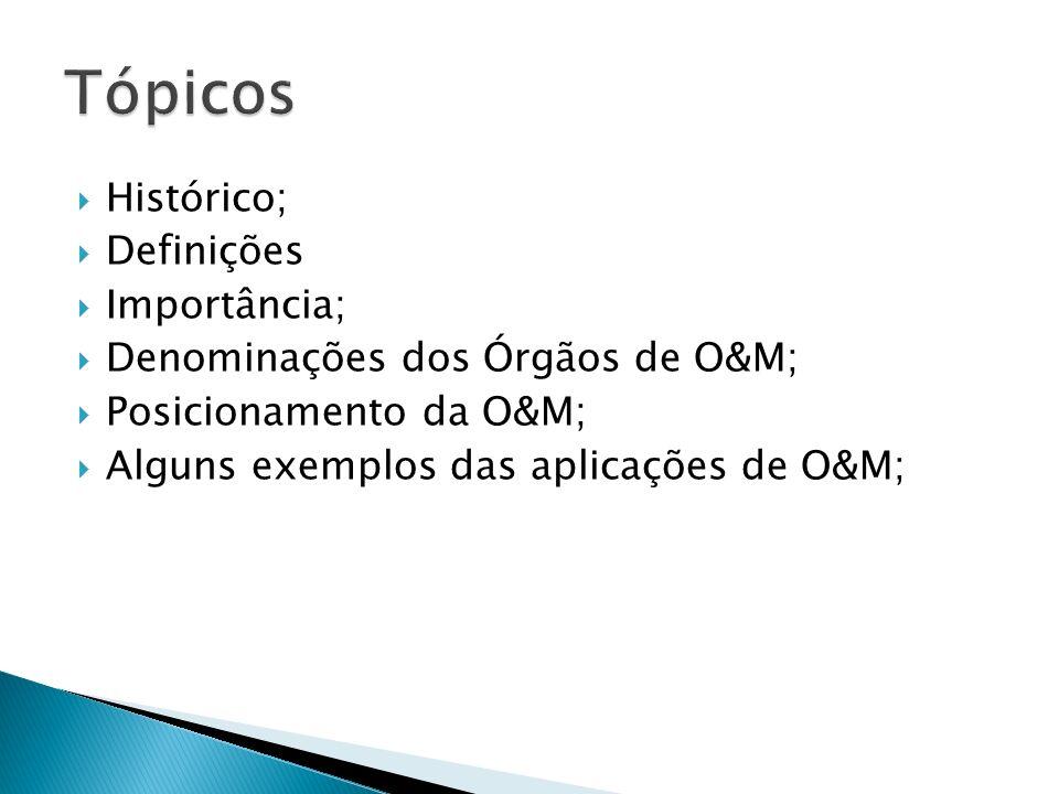 Tópicos Histórico; Definições Importância;