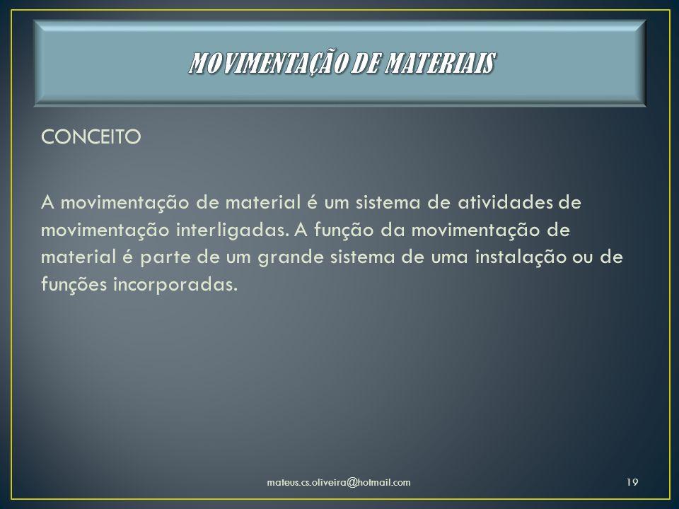 MOVIMENTAÇÃO DE MATERIAIS