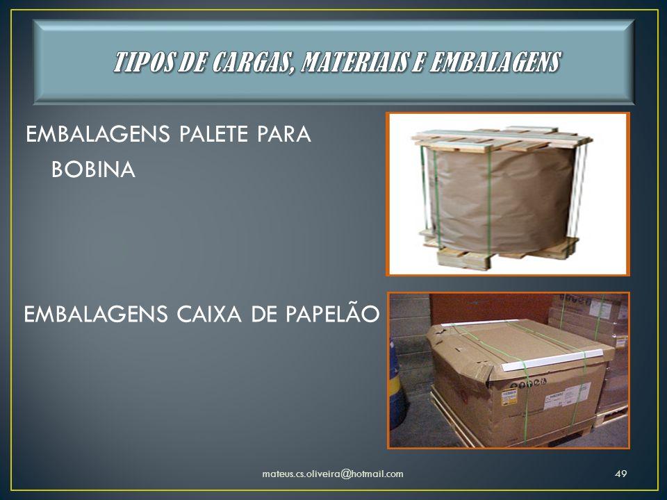 TIPOS DE CARGAS, MATERIAIS E EMBALAGENS