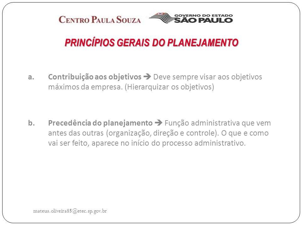 PRINCÍPIOS GERAIS DO PLANEJAMENTO