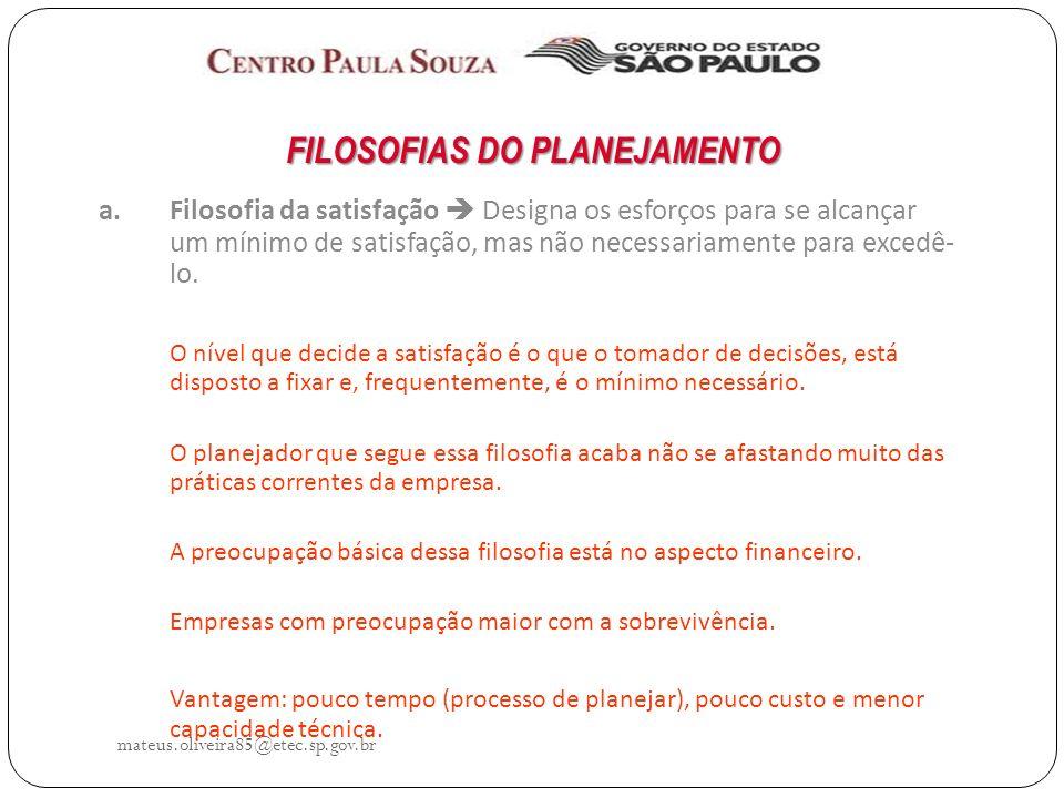 FILOSOFIAS DO PLANEJAMENTO