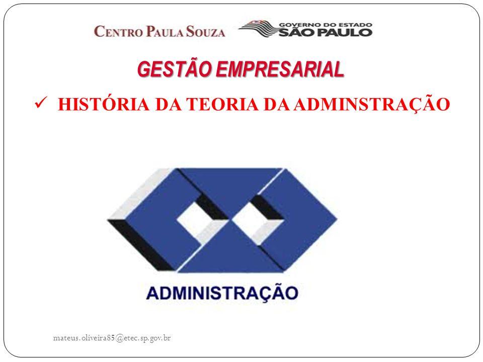 GESTÃO EMPRESARIAL HISTÓRIA DA TEORIA DA ADMINSTRAÇÃO