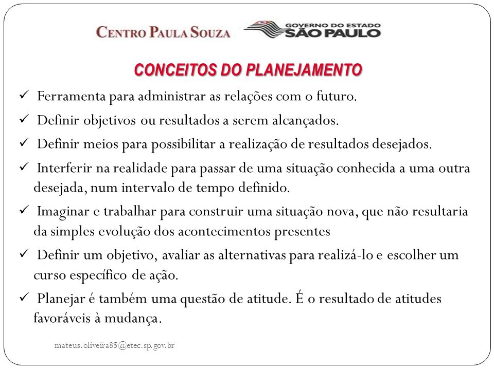 CONCEITOS DO PLANEJAMENTO