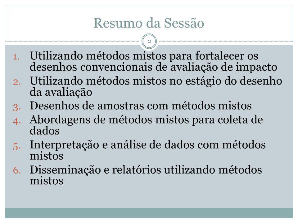 Resumo da SessãoUtilizando métodos mistos para fortalecer os desenhos convencionais de avaliação de impacto.