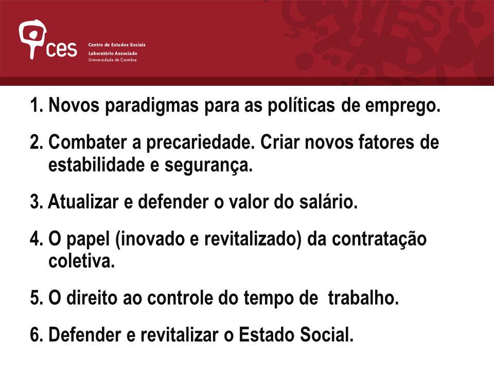 1. Novos paradigmas para as políticas de emprego.