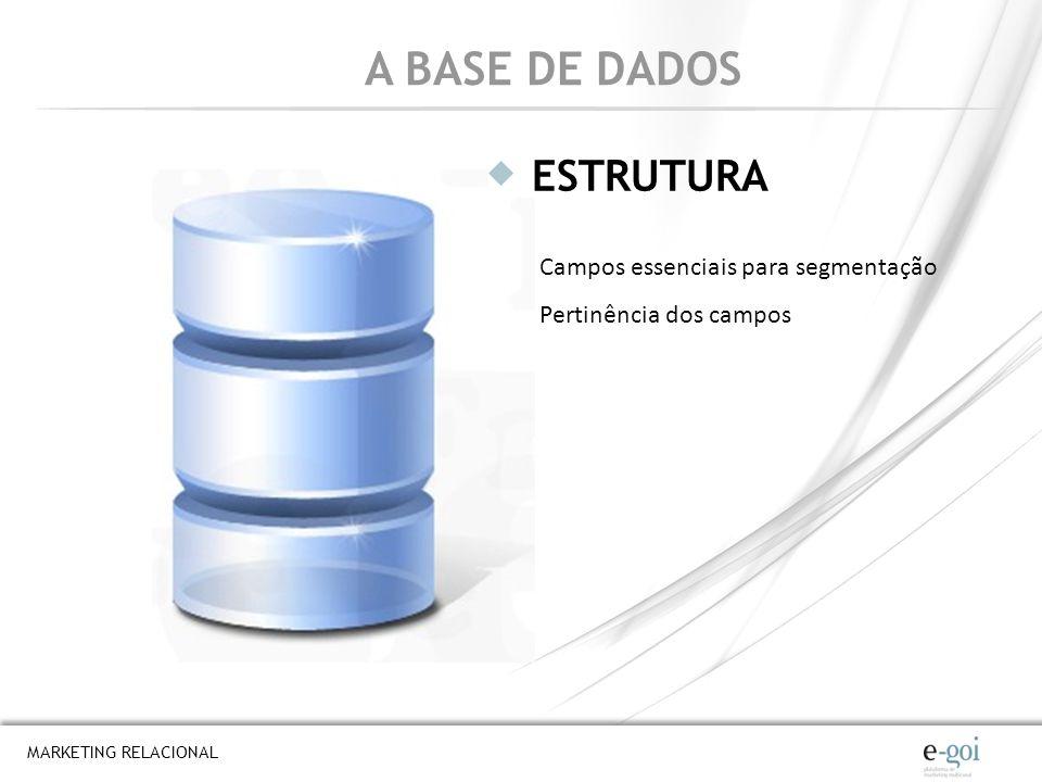 A BASE DE DADOS ESTRUTURA Campos essenciais para segmentação