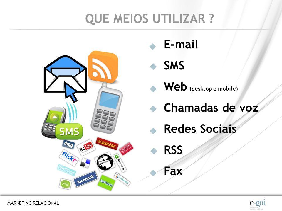 QUE MEIOS UTILIZAR E-mail SMS Web (desktop e mobile) Chamadas de voz