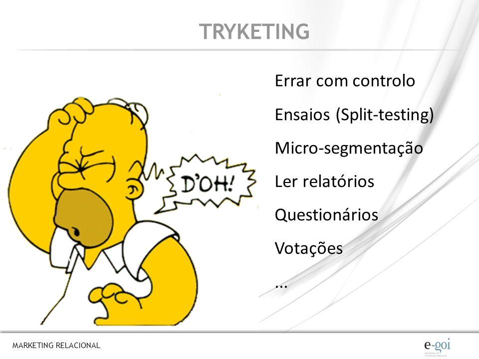TRYKETING Errar com controlo Ensaios (Split-testing) Micro-segmentação
