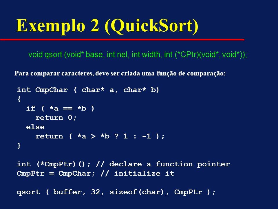 Exemplo 2 (QuickSort) void qsort (void* base, int nel, int width, int (*CPtr)(void*, void*));