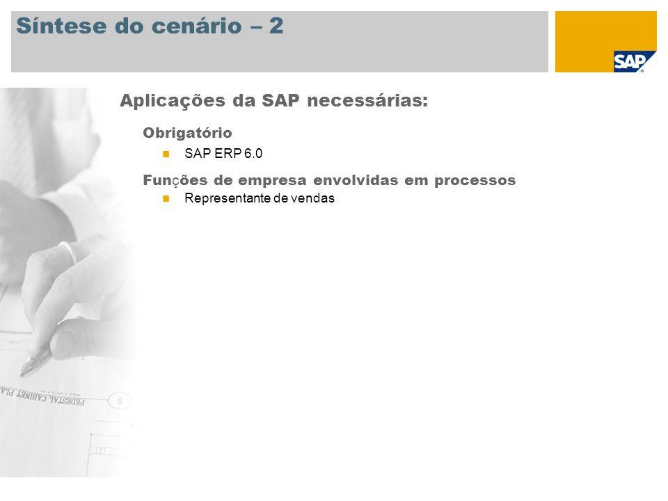 Síntese do cenário – 2 Aplicações da SAP necessárias: Obrigatório