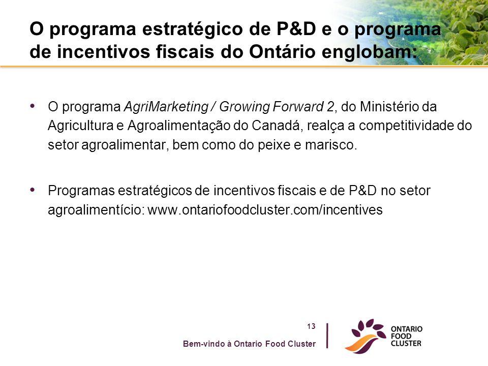O programa estratégico de P&D e o programa de incentivos fiscais do Ontário englobam: