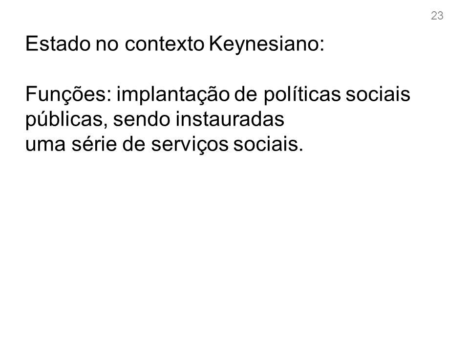 23 Estado no contexto Keynesiano: Funções: implantação de políticas sociais públicas, sendo instauradas uma série de serviços sociais.
