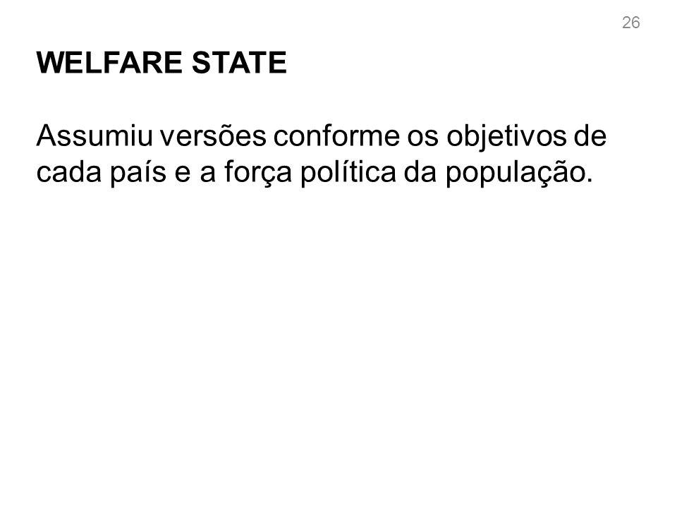 26 WELFARE STATE Assumiu versões conforme os objetivos de cada país e a força política da população.