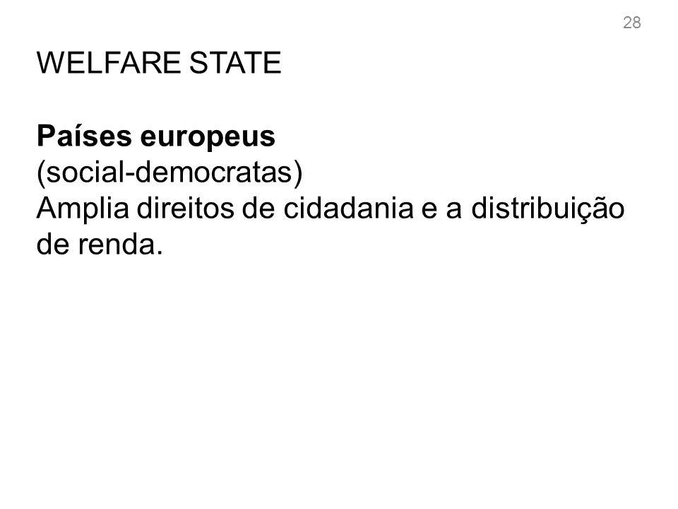 28 WELFARE STATE Países europeus (social-democratas) Amplia direitos de cidadania e a distribuição de renda.