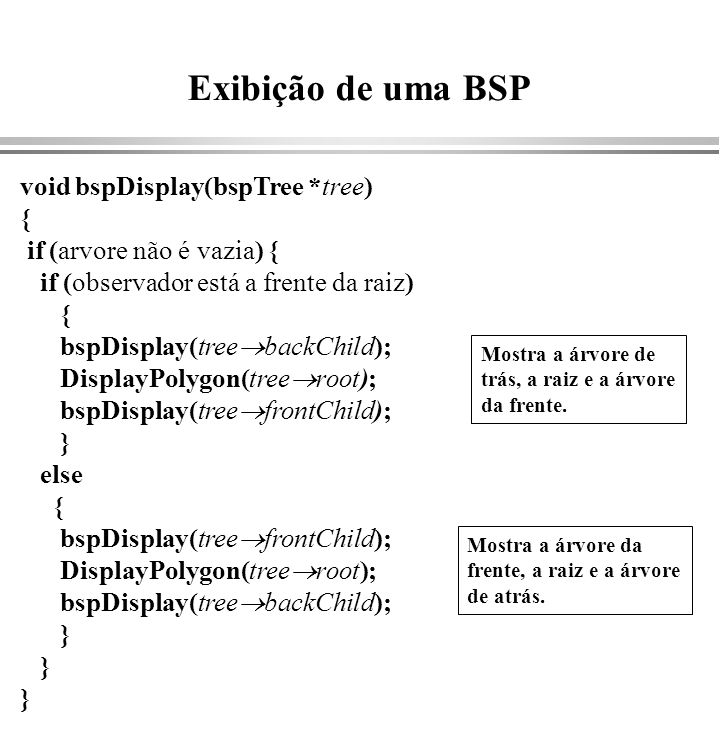 Exibição de uma BSP void bspDisplay(bspTree *tree) {