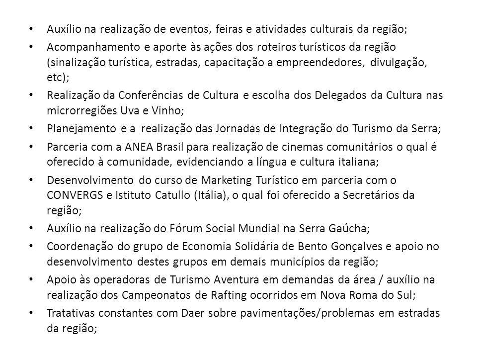 Auxílio na realização de eventos, feiras e atividades culturais da região;