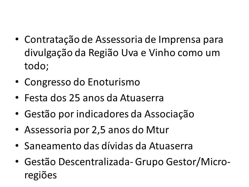 Contratação de Assessoria de Imprensa para divulgação da Região Uva e Vinho como um todo;