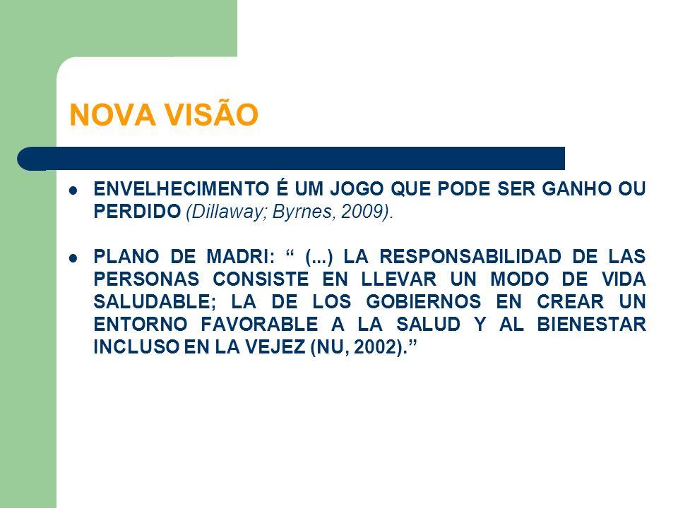 NOVA VISÃO ENVELHECIMENTO É UM JOGO QUE PODE SER GANHO OU PERDIDO (Dillaway; Byrnes, 2009).
