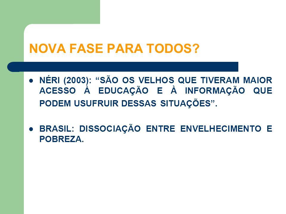 NOVA FASE PARA TODOS NÉRI (2003): SÃO OS VELHOS QUE TIVERAM MAIOR ACESSO À EDUCAÇÃO E À INFORMAÇÃO QUE PODEM USUFRUIR DESSAS SITUAÇÕES .