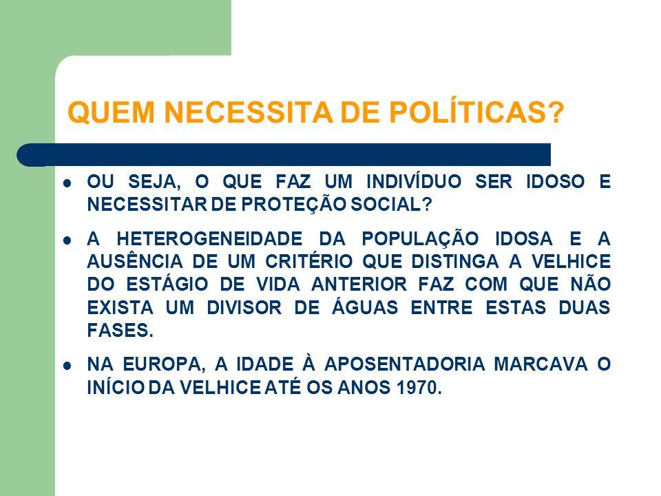 QUEM NECESSITA DE POLÍTICAS