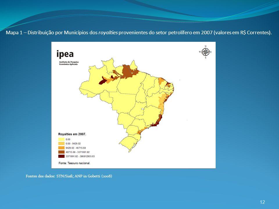 Mapa 1 – Distribuição por Municípios dos royalties provenientes do setor petrolífero em 2007 (valores em R$ Correntes).