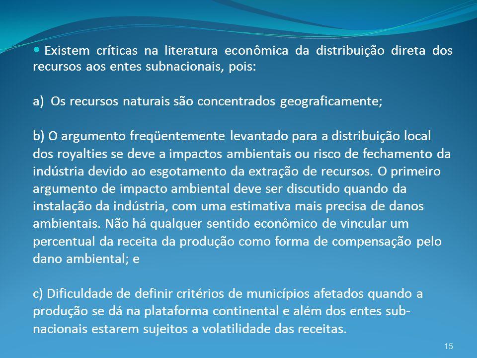 Existem críticas na literatura econômica da distribuição direta dos recursos aos entes subnacionais, pois: