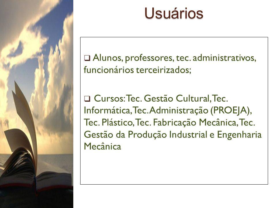 UsuáriosAlunos, professores, tec. administrativos, funcionários terceirizados;