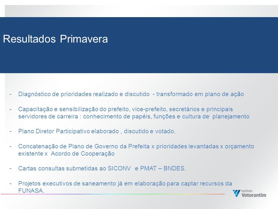 Resultados Primavera Diagnóstico de prioridades realizado e discutido - transformado em plano de ação.