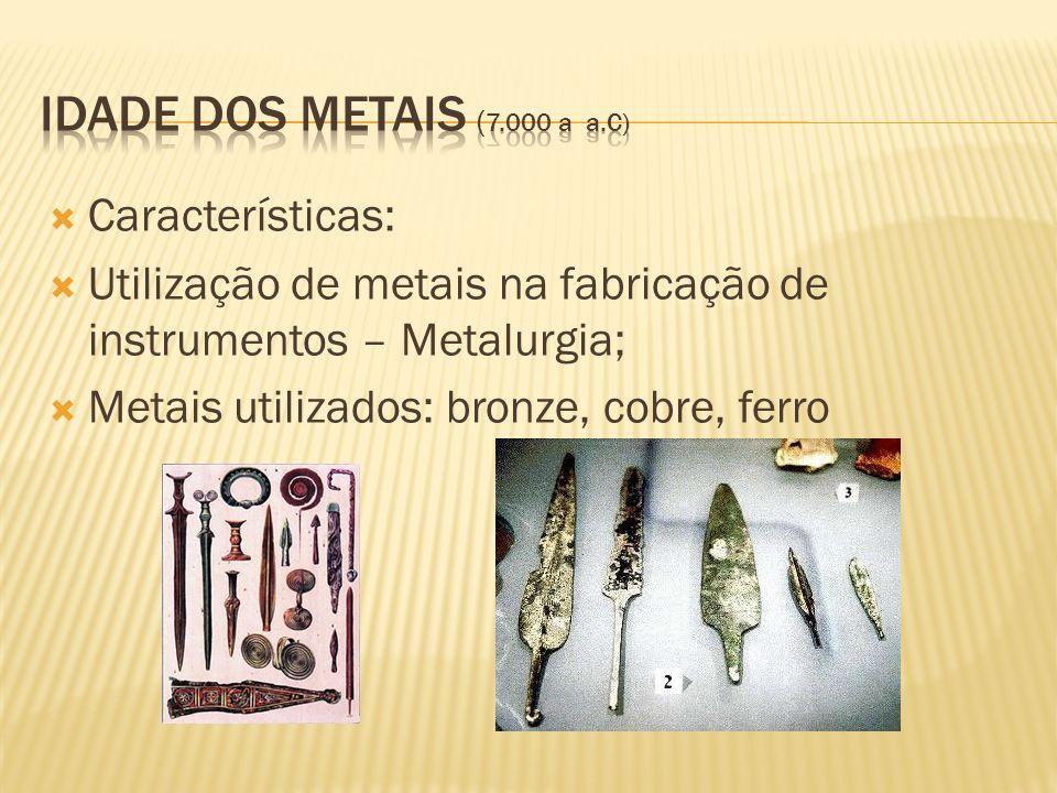 Idade dos Metais (7.000 a a.C) Características: