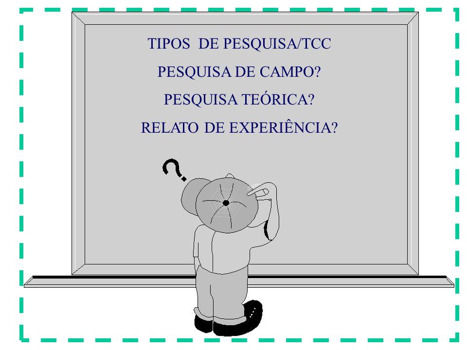 TIPOS DE PESQUISA/TCC PESQUISA DE CAMPO PESQUISA TEÓRICA RELATO DE EXPERIÊNCIA