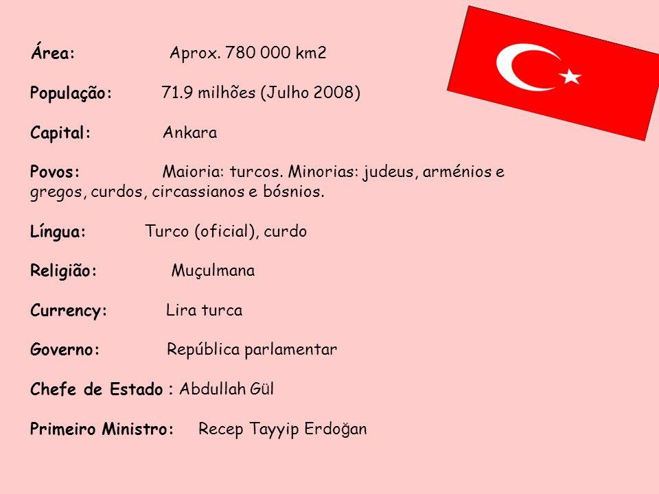 Área: Aprox. 780 000 km2População: 71.9 milhões (Julho 2008) Capital: Ankara.
