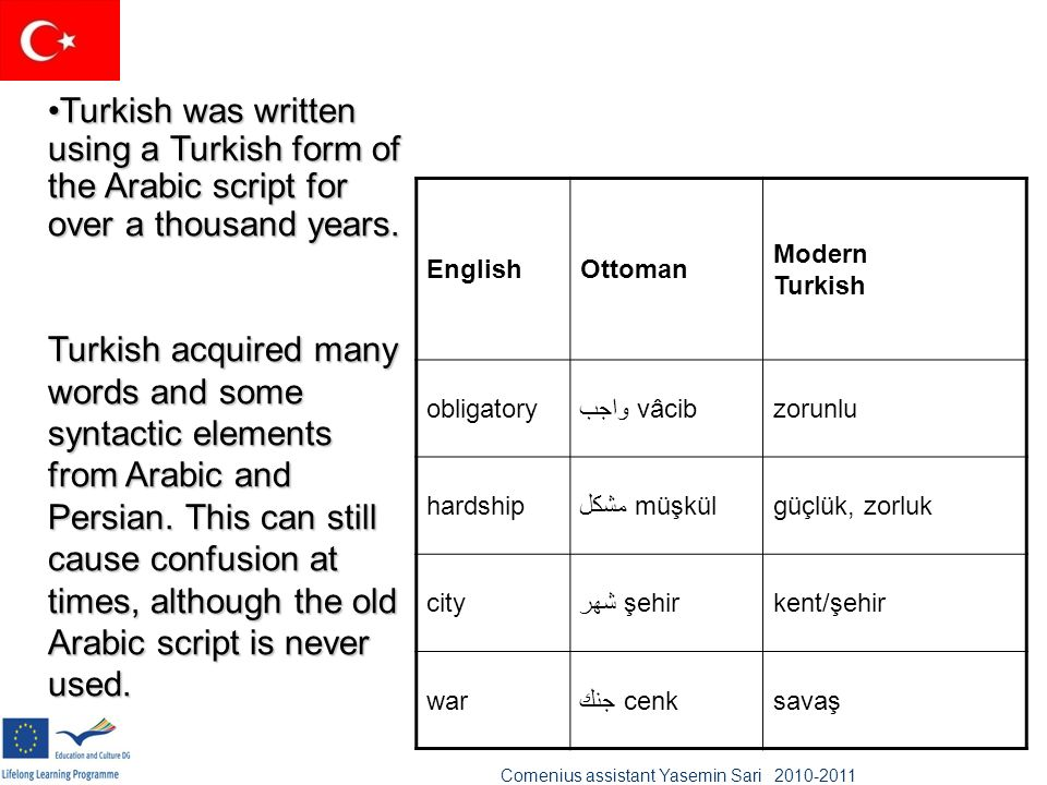 Turkish was written using a Turkish form of the Arabic script for over a thousand years.