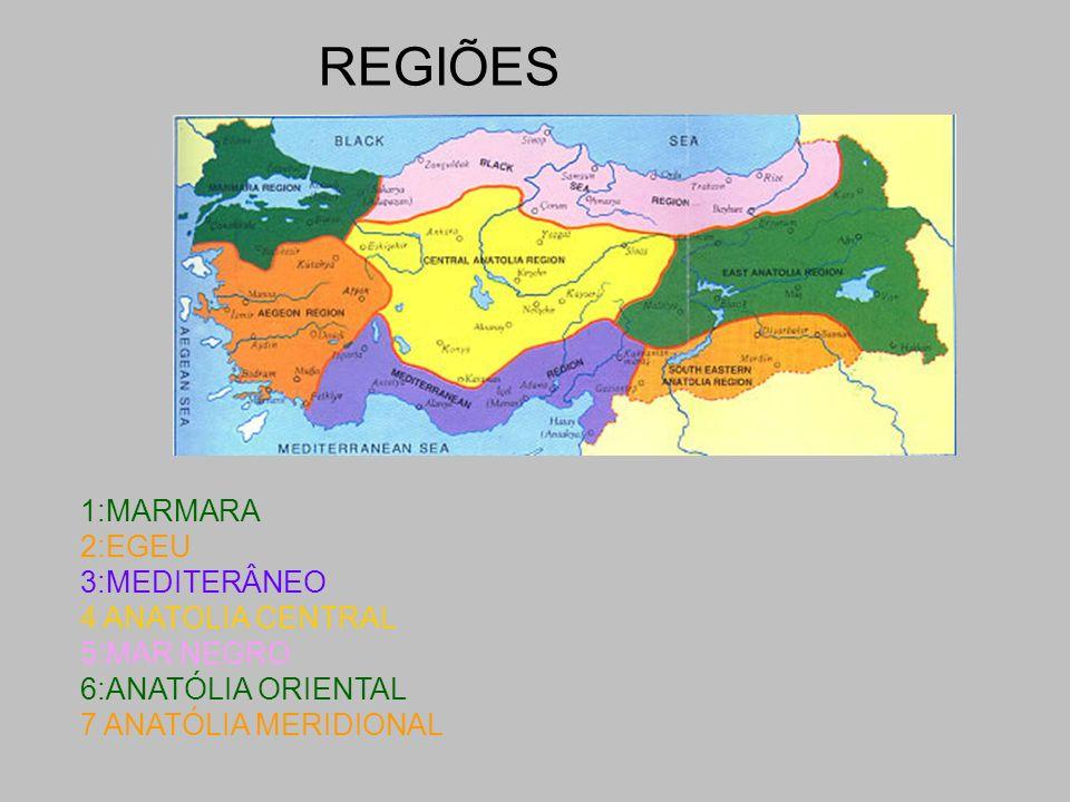 REGIÕES 1:MARMARA 2:EGEU 3:MEDITERÂNEO 4 ANATOLIA CENTRAL 5:MAR NEGRO