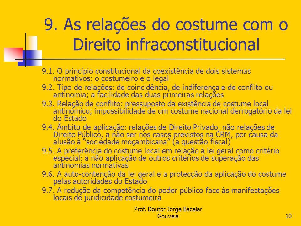9. As relações do costume com o Direito infraconstitucional