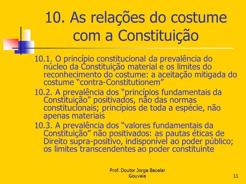 10. As relações do costume com a Constituição